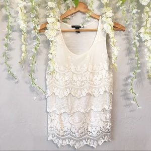 Tiered cream lace tank